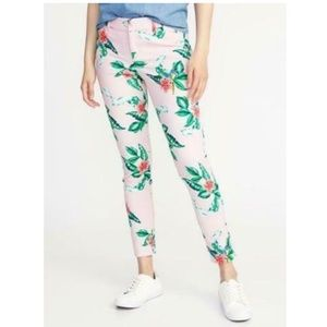 Old Navy Pixie Pink Floral Cropped Ankle Pants 6